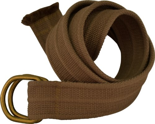 Mens Thick D-Ring Coffee Color Canvas Belt 44