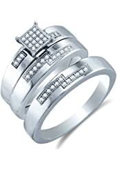 .925 Sterling Silver Plated in White Gold Rhodium Diamond His & Hers Trio 3 Three Ring Bridal Matching Engagement Wedding Ring Band Set - Square Shape Center Setting w/ Micro Pave Set Round Diamonds - (.15 cttw) - Please use drop down menu to select your desired ring sizes