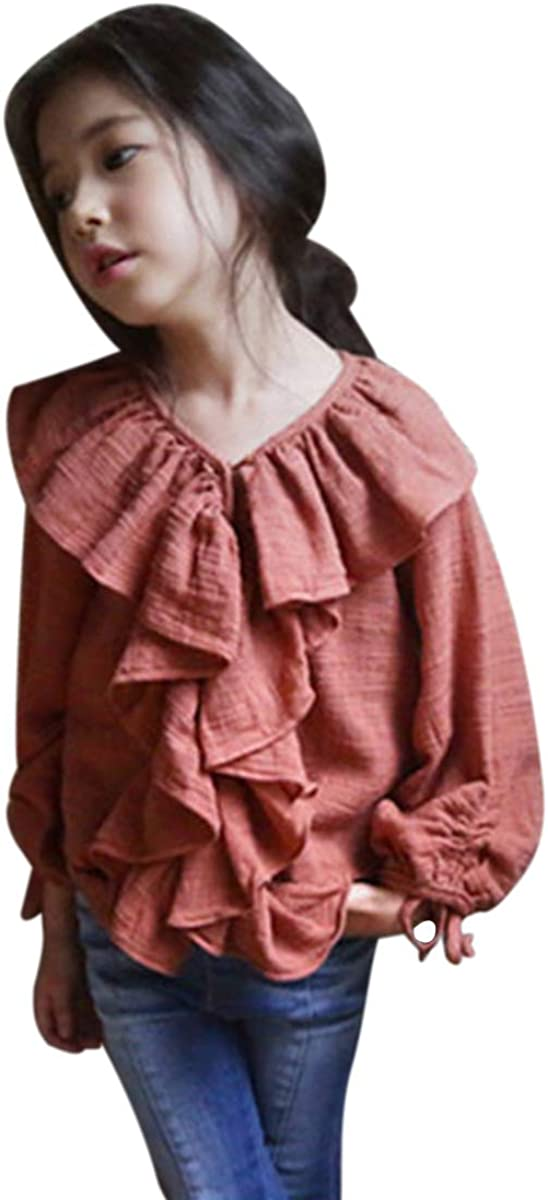 YueLian Girls Breathable Linen Long Sleeves Ruffled T-Shirt Top Playwear Shirts