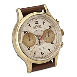 Brass Wrist Watch Desk Clock | Round Alarm Chronograph Leather