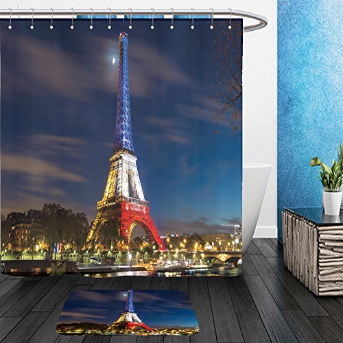France National Dress Costume (Vanfan Bathroom 2 Suits 1 Shower Curtains & 1 Floor Mats pris france november the eiffel tower lit up with the colors of the french national 340858064 From Bath room)
