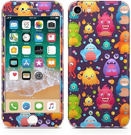igsticker iPhone SE 2020 iPhone8 iPhone7 専用 スキンシール 全面スキンシール フル 背面 側面 正面 液晶 ステッカー 保護シール 008664 ユニーク モンスター カラフル キャラクター