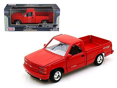 Pickup 454ss (Motormax 1992 Chevy 454SS Pickup Truck 1/24 Scale Diecast Model Car Black by Motor Max)