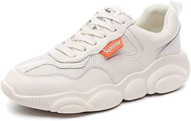 Womens Chunky Trainers Zapatillas De Deporte para Correr En Carretera Zapatillas Retro Gimnasio Sport Spring Fondo Plano Malla Transpirable Zapatos Blancos: Amazon.es: Zapatos y complementos