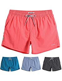 Mens Boys Short Solid Swim Trunks with Mesh Lining Quick Dry Mens Bathing Suits Swim Shorts