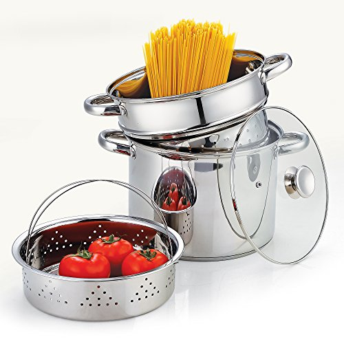 Cook N Home 02401 Stainless Steel 4-Piece 8 Quart Pasta Cooker Steamer Multipots by Cook N Home (Image #1)