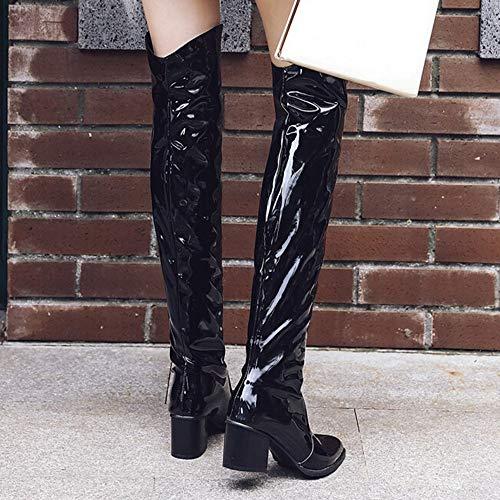 ab3695d8a70bb Amazon.com: Hunzed Women Shoes Christmas Patent Leather Shiny ...