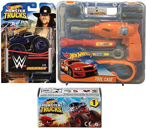 Hot Wheels Under Team WWE Monster Madness Big Wheel Trucks Undertaker Super Slam StarMini Truck Blind Box & HW Garage Tool Case Jam Bundle