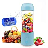 Portable Blender, HUGGD USB Juicer Cup - Six Blades in 3D, 4000mAh Rechargeable Battery, 480ml Fruit Mixing Machine with Power Bank, Ice Tray(FDA BPA Free) (Blue)