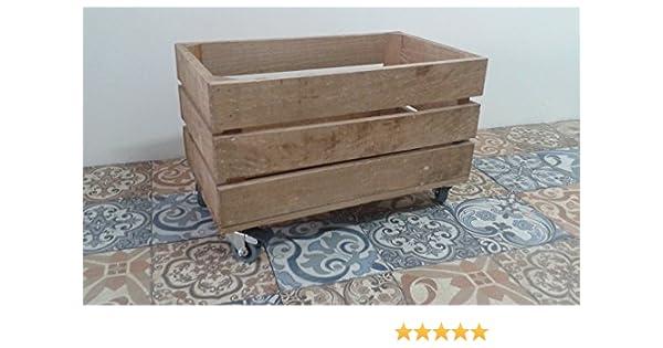 rebajas ofertas caja cajón de madera fruta pino envejecida con ruedas 50x30x32 rueda tipo industrias muy resistentes, ideal para almacenaje,guardar juguetes o como elemento decorativo: Amazon.es: Handmade