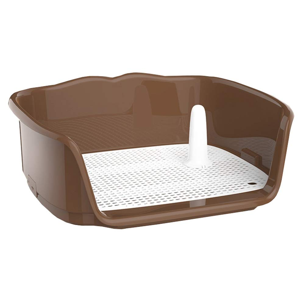 BROWN L BROWN L Dog Toilet, Indoor Plastic Pet Potty Splash-Proof Toilet with Simulation Wall for Small Medium Dog Pee Training Toilet (color   Brown, Size   L)