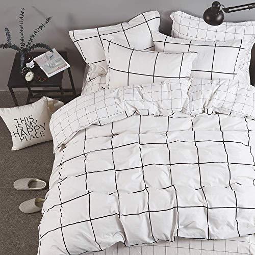 (Wellboo White Plaid Pillowcases Queen Pillow Sham Cotton Black White Mini Plaid Pillows Women Men Teen Boys Girls Pillow Covers Decorative Envelope Closure Pack of 2 (2 Pieces,20