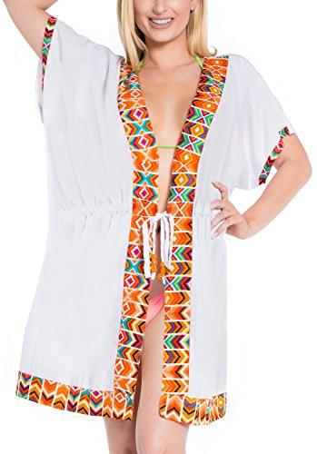 La Leela Las Mujeres Rayón Lisas De La Rebeca De Trajes De Baño Traje De Baño Más El Vestido Blanco Encubrimiento Blanco Naranja
