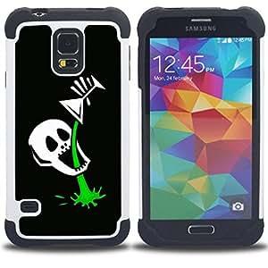 """SAMSUNG Galaxy S5 V / i9600 / SM-G900 - 3 en 1 impreso colorido de Altas Prestaciones PC Funda chaqueta Negro cubierta gel silicona suave (Divertido esqueleto cráneo Martini"""")"""
