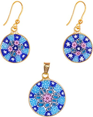 - Millefiori Earring/Pendant Set, Handmade in Murano, Gold Plated Sterling 925 imported from Italy