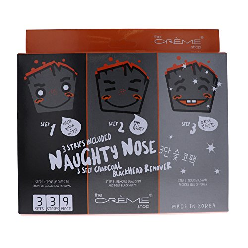 Naughty 3 Piece - The Crème Shop - Naughty Nose 3-Step Charcoal Blackhead Remover (3 pack set)