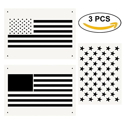 Flag Packing Usa (Star Stencil 50 Stars American Flag Template and 2 in 1 USA Flag Stencil for Painting on Fabric, Paper, Wood, Wall, Multiple Use)