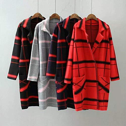 Casual Di Donne Manica Moda Maglioni Pulsante Autunno Maglia Stampate Tasche Modern Grau Giacca Stile Outwear Pattern Giubotto Invernali Donna Anteriori A Classiche Lunga wI1tnC