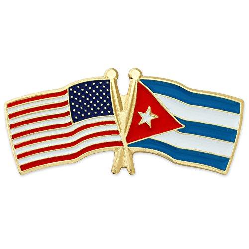 PinMart USA and Cuba Crossed Friendship Flag Enamel Lapel Pin