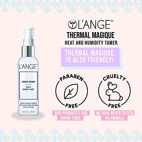 L'ANGE Hair Heat Protectant Spray - Thermal Magique Hair Protector Against Flat Iron & Hot Blow Dry – Hair Spray For Strengthening Hair, Humidity & Fizz Control – 4 FL Oz / 118ML