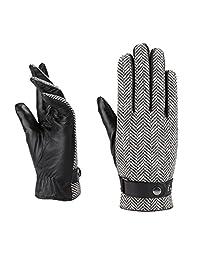 MoDA Men's Mr. Milwaukee Men's Slim Fit Herring Bone Design Leather Gloves