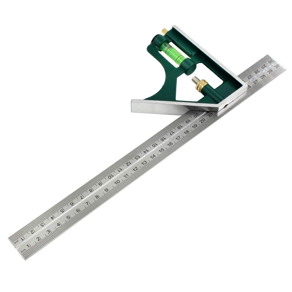 Bardland 300-12 Combination Square with Bubble Level, Adjustable Right Angle Ruler 12 inch, Universal Adjustable Metric Multifunctional Combination Try Square Set Right Angle Ruler Measurement Tools