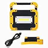 COB LED Work Light 10W 750 Lumens Portable Led Work Light Rechargeable Floodlight LED Lamp Power Bank Torch with USB Ports to Charge Mobile Devices + Handle + (Yellow)