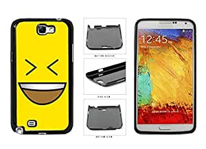 Bright Yellow Evil Grin with Teeth Smiley Face Plastic Phone Case Back Cover Samsung Galaxy Note II 2 N7100