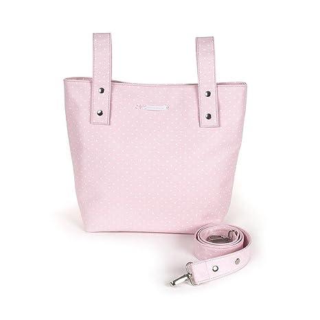 Pasito a Pasito - Bolsa panadera o bolso para silla de paseo Atelier en polipel rosa con topito blanco