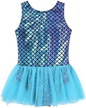 432f7510e7 YiZYiF Baby Toddler Girls Shiny Magic Scales Dancewear Sequined Tutu Mermaid  Party Leotard