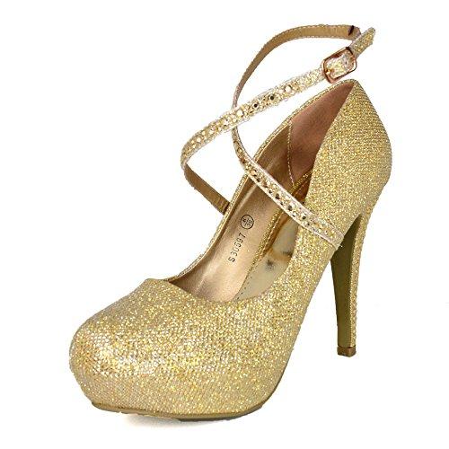 Gold Donna Scarpe WeHeartShoes Tacco col waBYwIxqt