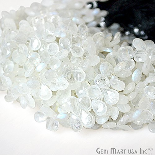 1 Strand Rainbow Moonstone Briolette Beads, 7x5mm Faceted Gemstone Teardrop Beads 8