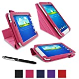 """rooCASE Samsung Galaxy Tab 3 7.0 Case - Origami PU Leather 7-Inch 7"""" Cover - MAGENTA"""