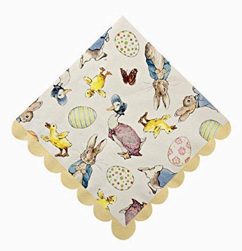 - Meri Meri Beatrix Potter Peter Rabbit Luncheon Paper Napkins with Scalloped Edges, Yellow