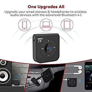 15 Hour Bluetooth Receiver,TaoTronics Portable Wireless Car Aux Adapter 3.5mm Stereo Car Kits, Bluetooth 4.1 Hands-free Bluetooth Audio Adapter for Home /Car Stereo Music Streaming Sound System