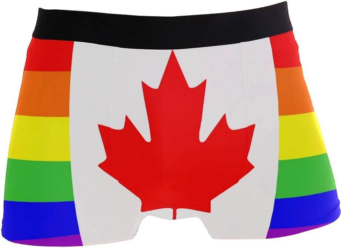 Multi Striped Rainbow Canada Flag Mens Underwear Boxer Briefs Breathable