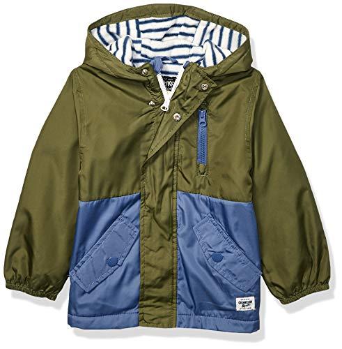 Osh Kosh Boys' Little Midweight Fleece Lined Windbreaker Jacket, Olive Navy Blocked, 4