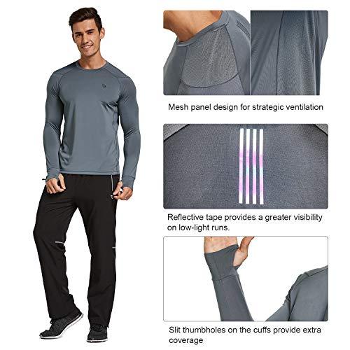BALEAF Men's Athletic Long Sleeve Running Shirts Thumbholes Lightweight Workout T-Shirt Quick Dry Tops