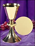 Gold Gild Catholic Christian Ornate Node Chalice Goblet Cup Hammered Base and Paten Church by Religious Gifts