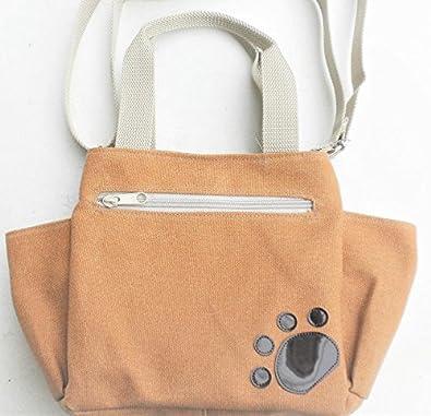 840459f13b66 Amazon.co.jp: ポケットたくさんパグのショルダーバッグ ミニ 2way 散歩 トートバッグ 斜め掛け 帆布 犬柄 キャメル 多収納:  シューズ&バッグ