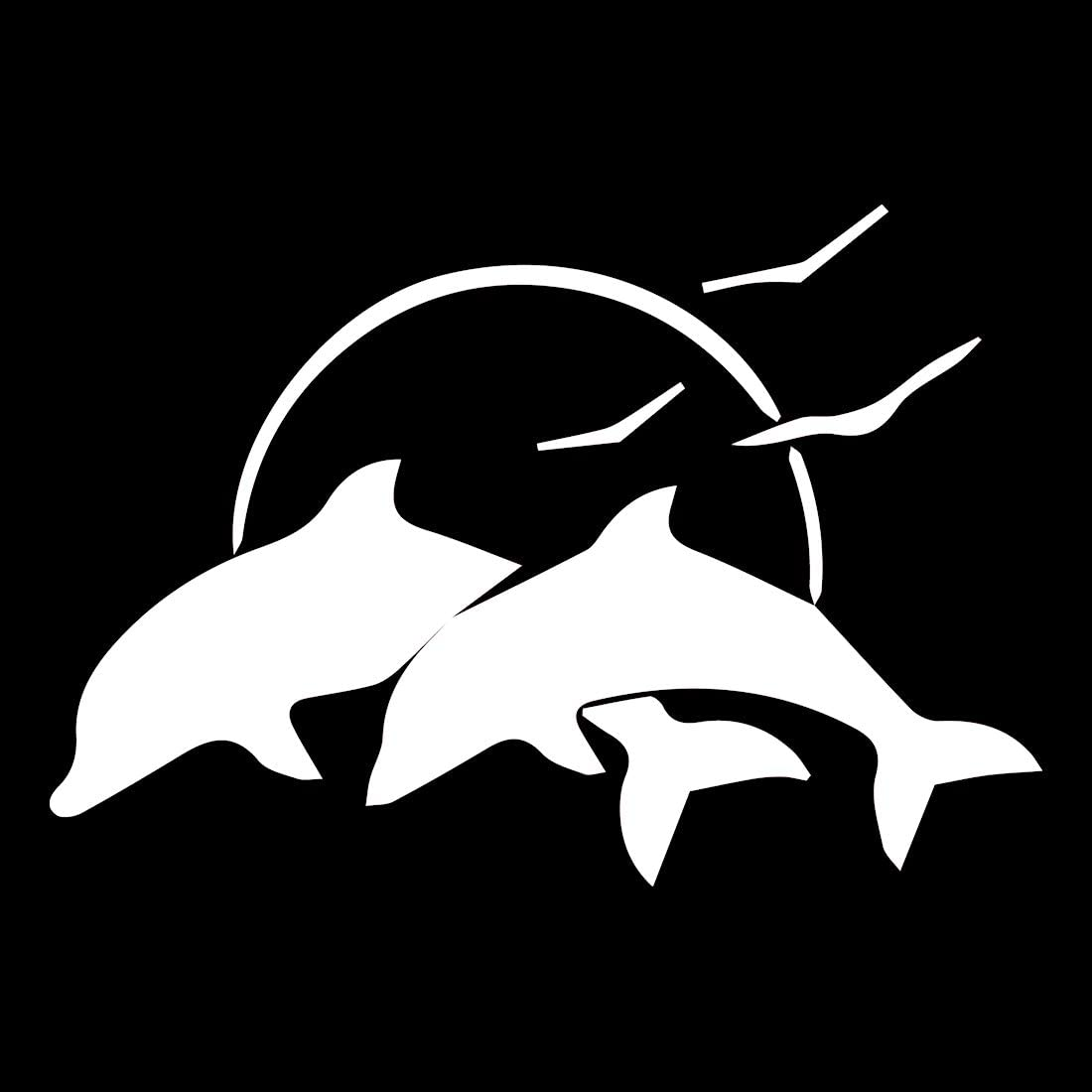 NBFU DECALS Dolphins & Seagulls (White) (Set of 2) Premium Waterproof Vinyl Decal Stickers for Laptop Phone Accessory Helmet Car Window Bumper Mug Tuber Cup Door Wall Decoration