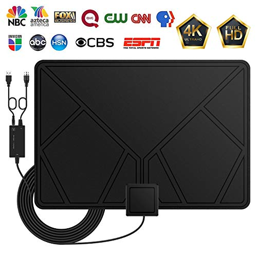 Amplified HD Digital TV Antenna, HDTV Antenna with Detachable Amplifier Signal Booster, Long 60-80 Mile Range Indoor Support VHF UHF 1080p 4K Freeview Channels, 16.4foot Coax Cable Adapter