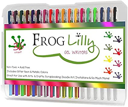 FrogLilly Professional Artist Markers Gel Ink Pens Set w/ 4 Adult Coloring Book Pages in Sturdy Plastic Case - Ultra Fine Glider Tips for Intricate Detailing, 36 Vibrant Neon, Glitter & Pastel