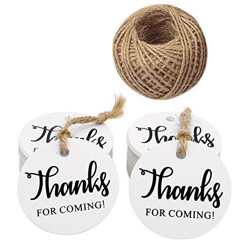 (Thanks for Coming Tags,100 Pieces White Kraft Paper Gift Tags Hang Tags,Thanks for Coming Printed Round Kraft Tags with 100 Feet Jute Twine(5CM))