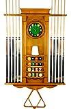 10 Pool Cue Stick Billiard Wall Rack W/ Clock Oak Finish (Oak)