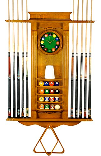 10 Pool Cue Stick Billiard Wall Rack W/Clock Oak Finish (Oak) ()