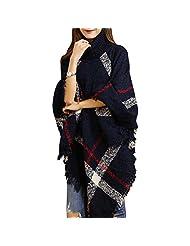 Women's Pullover Batwing Sleeves Sweater Poncho Cape Cloak Tassels