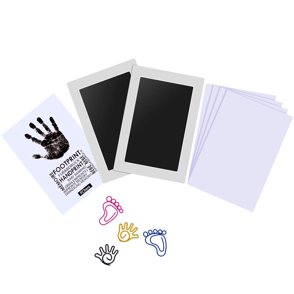 PChero Large Size Baby Handprint and Footprint Ink Pad Kit, Non-Toxic and Clean-Touch, Perfect for Family Keepsake Baby Shower Gift and Registry (2 Packs)