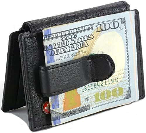 Mens Leather Money Clip Wallet Bi Fold bifold Card Case Front Pocket ID Window 6 Cards