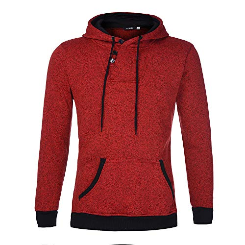 - Men's Fashion Pure Color Drawsting Pullover Long Sleeve Hooded Sweatshirt Tops Blouse